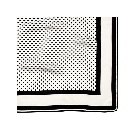 Silk Scarf with Black & White Polka Dot from Aspinal of London