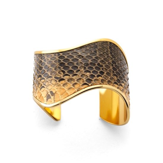 Aphrodite Cuff Bracelet in Desert Sands Snakeskin from Aspinal of London