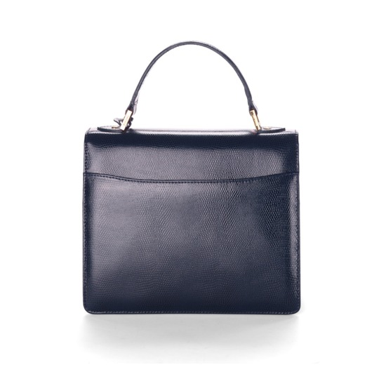 Classic Mayfair Bag with Cross Body Strap in Navy Lizard from Aspinal of London