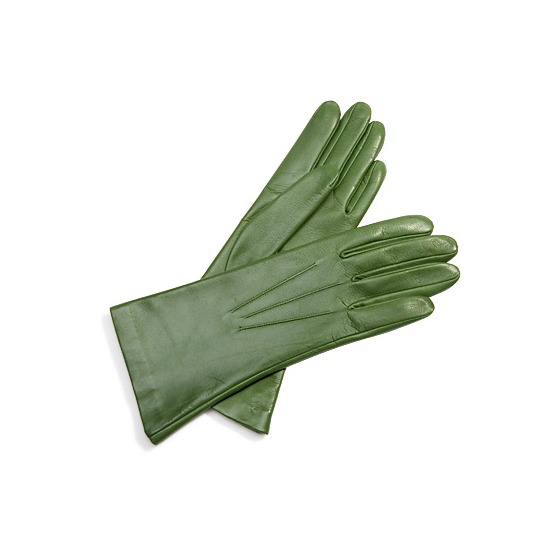 Ladies Classic Silk Lined Leather Gloves in Forest Green from Aspinal of London