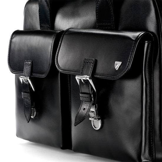 Deluxe Harrison Overnight Business Bag in Black Bridle from Aspinal of London