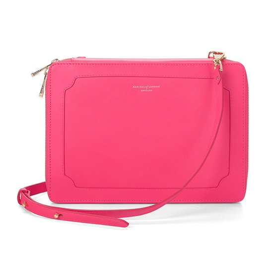 Marylebone iPad Air Case with Crossbody Strap in Smooth Neon Pink from Aspinal of London