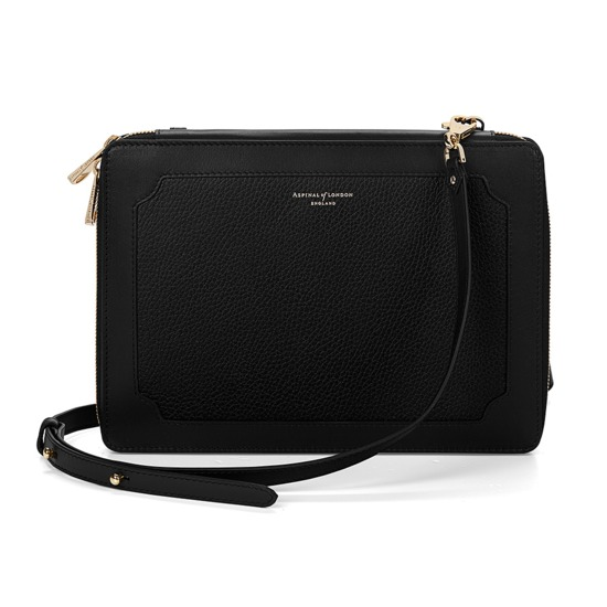 Marylebone iPad Air Case with Crossbody Strap in Black Pebble from Aspinal of London