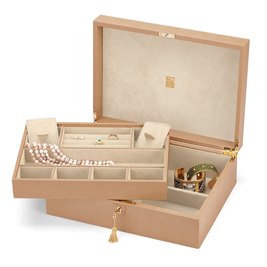 Grand Luxe Jewellery Case in Deer Saffiano & Cream Suede from Aspinal of London