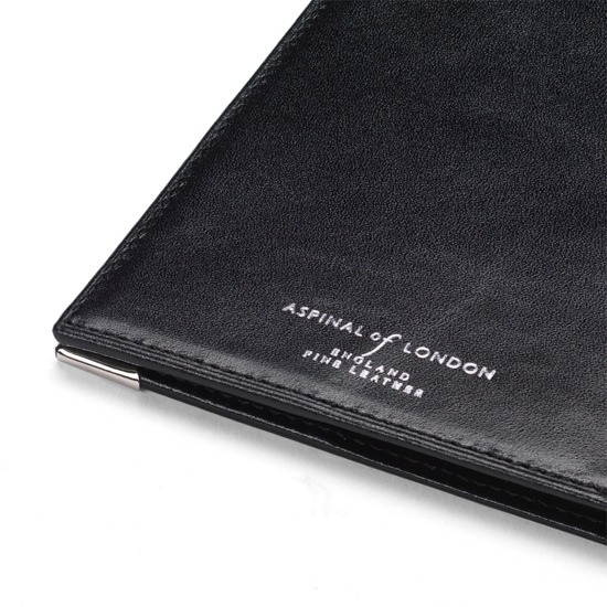 USA Passport Cover in Smooth Black with Purple Ribbon from Aspinal of London