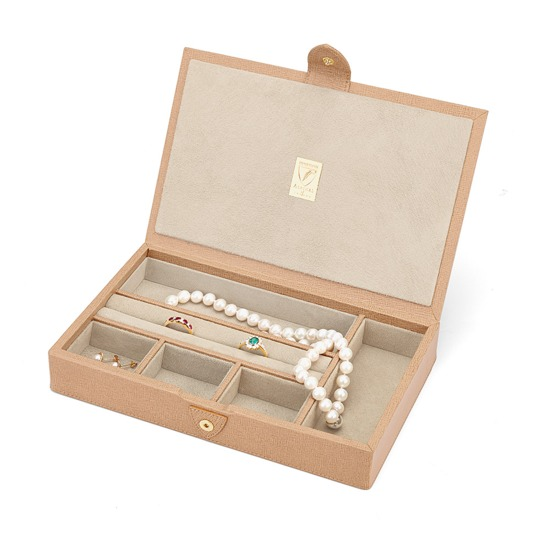 Paris Jewellery Box in Deer Saffiano & Cream Suede from Aspinal of London