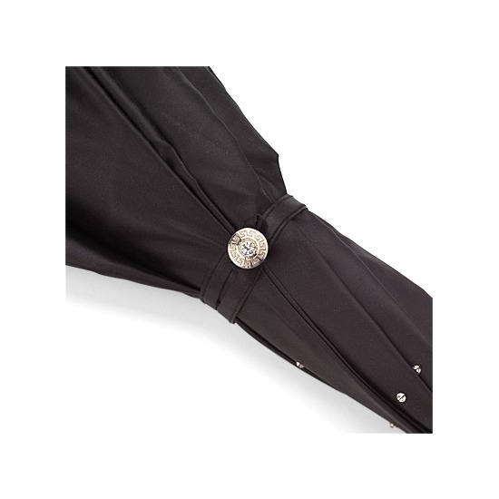 Ladies Umbrella in Black & Silver with Crystals SWAROVSKI ELEMENTS from Aspinal of London