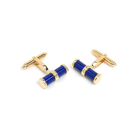Double Barrel Lapis Lazulite Cufflinks in 9ct Gold from Aspinal of London