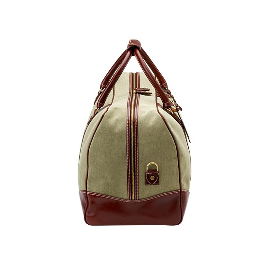 Travel Bag Set in Khaki Canvas & Smooth Cognac from Aspinal of London