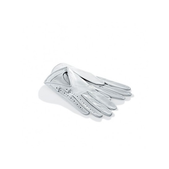 Aspinal Short Length Brogued Ladies Gloves in White from Aspinal of London