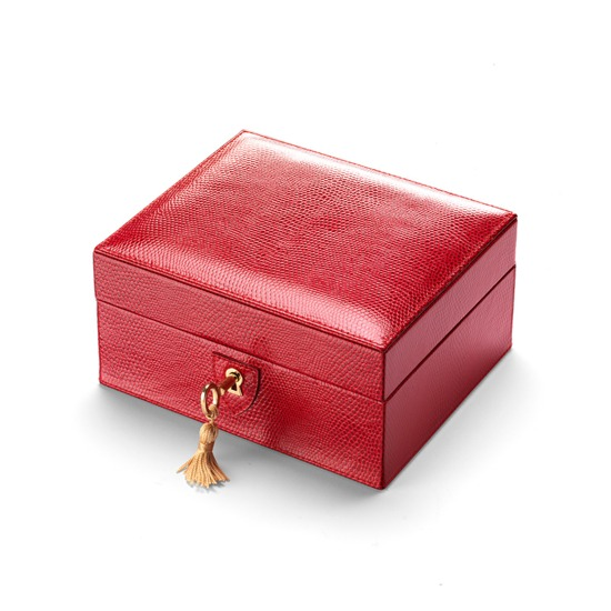 Bijou Jewellery Box in Berry Lizard & Cream Suede from Aspinal of London