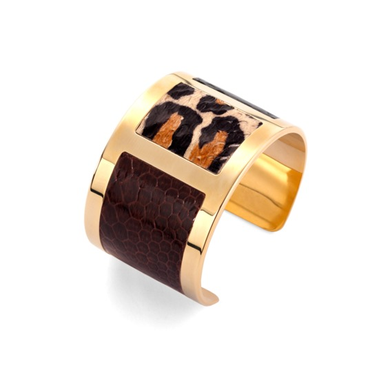 Roma Cuff Bracelet in Black, Leopard & Brown Snakeskin from Aspinal of London