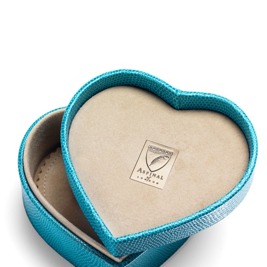 Heart Trinket Box in Turquoise Lizard & Cream Suede from Aspinal of London