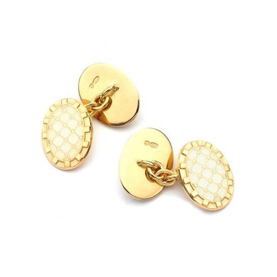 22ct Gold Plated & Enamel Constellation Cufflinks in Cream from Aspinal of London