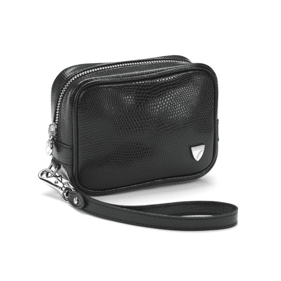 Mini Cosmetic Purse in Black Lizard from Aspinal of London