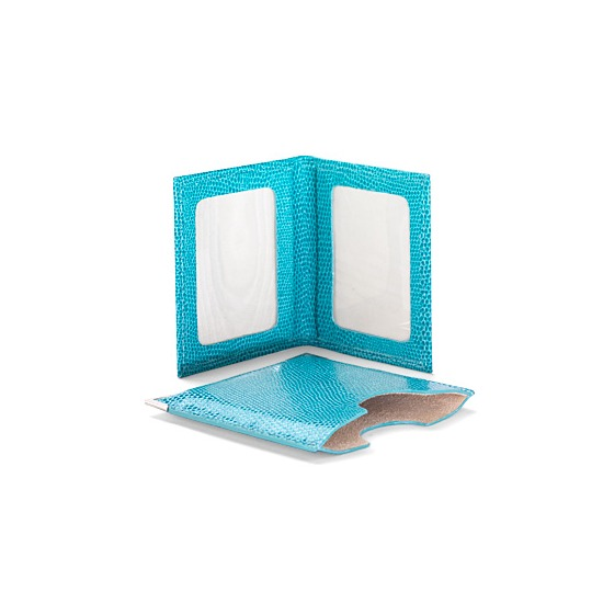Travel Photo Frame in Turquoise Lizard & Cream Suede from Aspinal of London