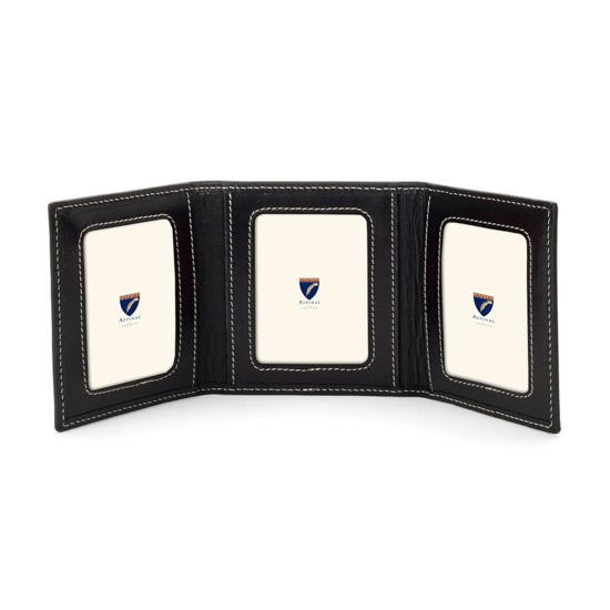 Triple Travel Photo Frame in Smooth Black from Aspinal of London