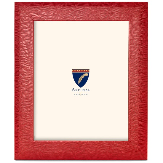 10 X 8 Leather Photo Frame in Red Lizard | Aspinal of London