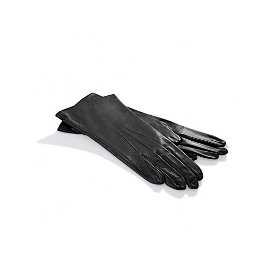 Ladies Classic Silk Lined Leather Gloves in Black from Aspinal of London
