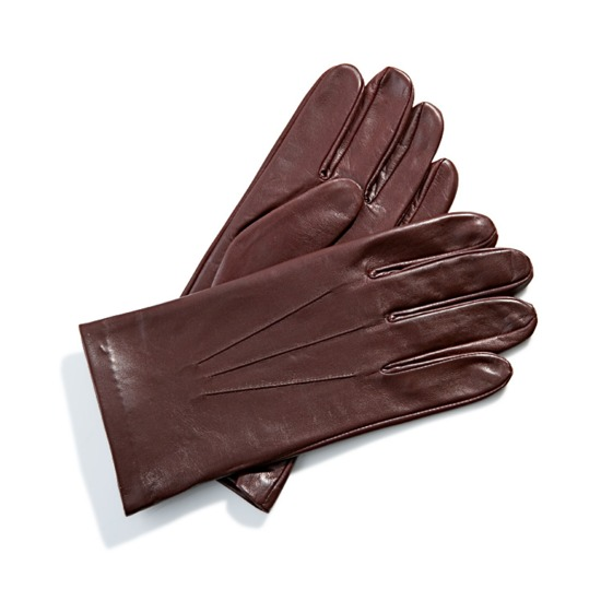 Men's Classic Silk Lined Leather Gloves in Brown from Aspinal of London