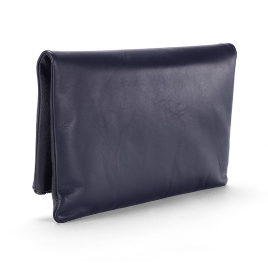 Millie Clutch in Smooth Navy & Black Pebble from Aspinal of London