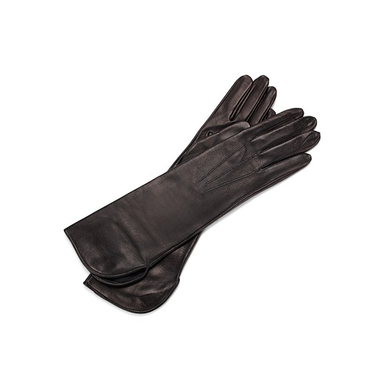 Ladies Classic Mid Length Leather Gloves in Black from Aspinal of London