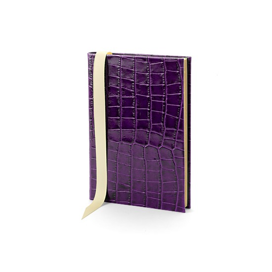 A5 Safari Croc Journal in Purple Croc from Aspinal of London