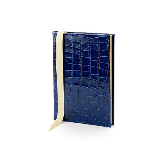 A5 Safari Croc Journal in Navy Croc from Aspinal of London