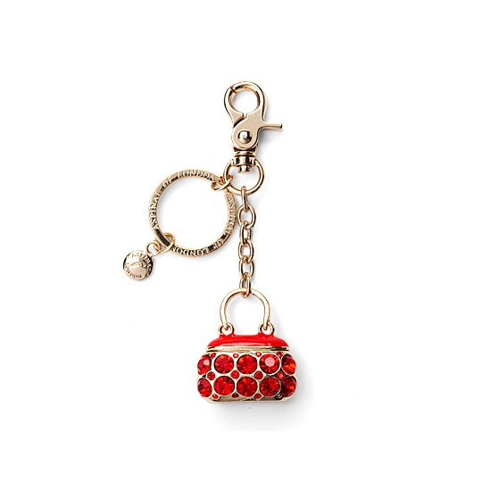 Mini Hepburn Handbag Charm & Keyring with Red Crystals from Aspinal of London