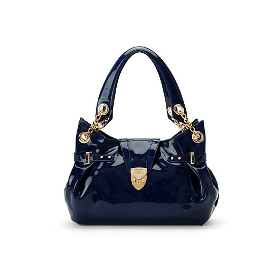Barbarella Bag in Navy Blue Patent Leather from Aspinal of London