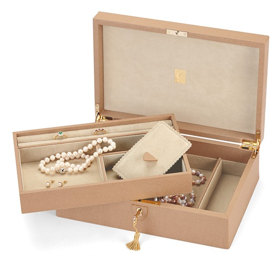 Savoy Jewellery Box in Deer Saffiano & Cream Suede from Aspinal of London