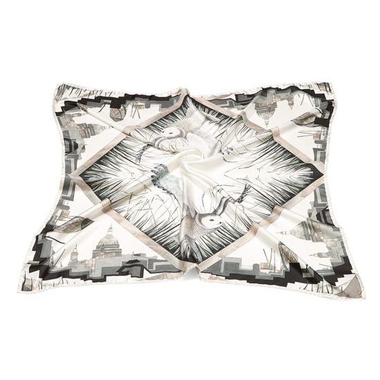 Owl in London Silk Scarf in Monochrome from Aspinal of London