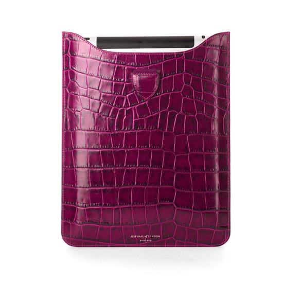 iPad Retina Display Leather Sleeve in Purple Croc & Cream Suede from Aspinal of London
