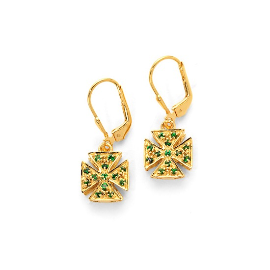 Green Tsavorite Jewelled Cross Earrings in 18ct Gold Vermeil from Aspinal of London