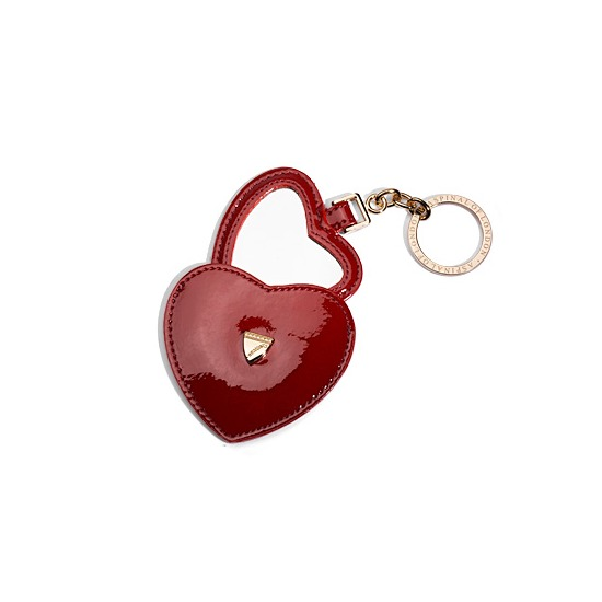Heart Mirror Key Ring in Cherry Red Patent Leather from Aspinal of London