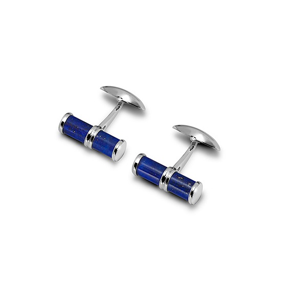 Sterling Silver & Lapis Barrel Cufflinks from Aspinal of London
