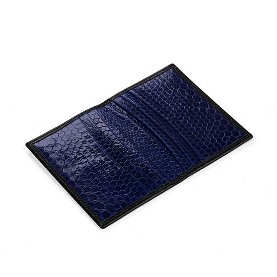 Exotic Double Credit Card Case in Black with Blue Snake from Aspinal of London