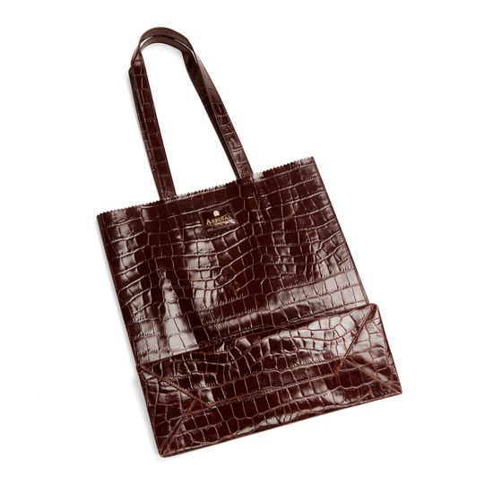 Aspinal Essential Tote in Amazon Brown Croc from Aspinal of London