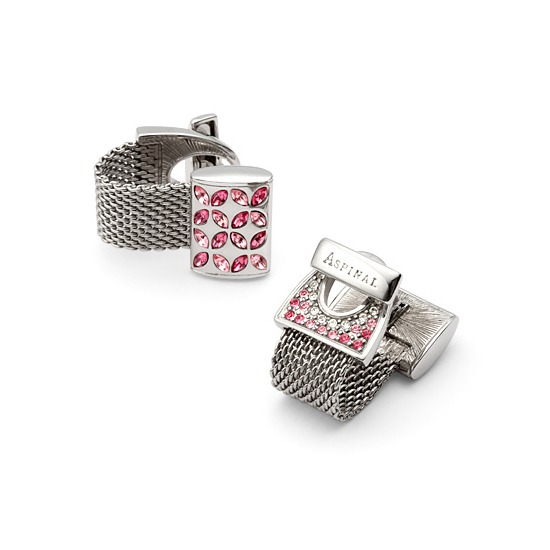 Tonal Pink Wrap Around Cufflinks with SWAROVSKI ELEMENTS from Aspinal of London