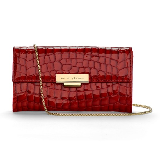 Kylie Purse Clutch with Chain in Red Patent Croc from Aspinal of London