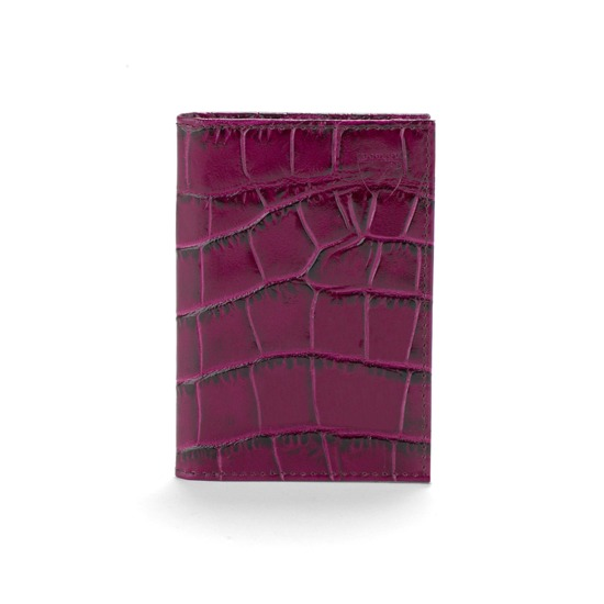 Double Fold Credit Card Case in Purple Croc from Aspinal of London
