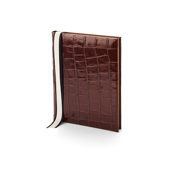 Ships Log Book in Amazon Brown Croc from Aspinal of London