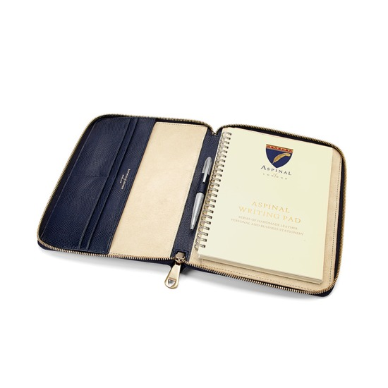 A5 Zipped Padfolio in Midnight Blue Lizard & Cream Suede from Aspinal of London