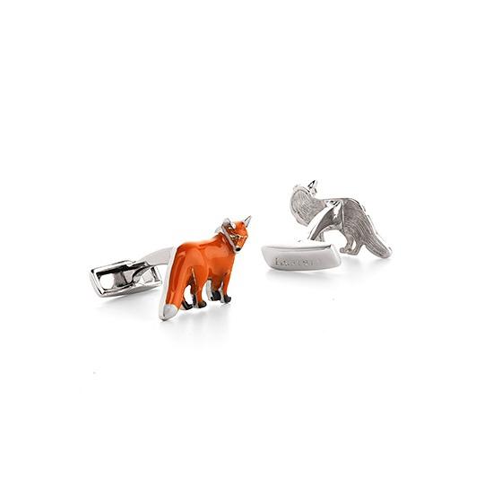 Sterling Silver & Enamel Fox Cufflinks from Aspinal of London