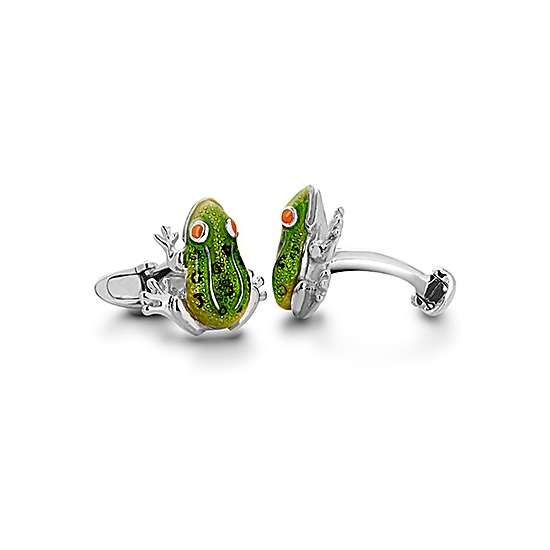 Sterling Silver & Enamel Frog Cufflinks from Aspinal of London