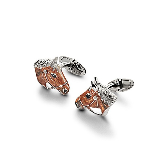 Sterling Silver & Enamel Horse Cufflinks from Aspinal of London