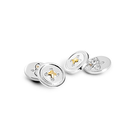 Sterling Silver & Gold Plated Double Buttons Cufflinks from Aspinal of London