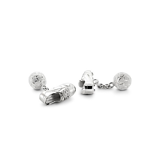 Sterling Silver Football & Boot Cufflinks from Aspinal of London