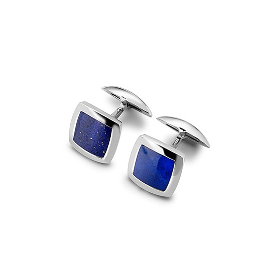 Sterling Silver & Lapis Square Cufflinks from Aspinal of London