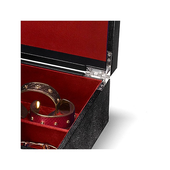 Grand Luxe Jewellery Case in Jet Black Lizard & Red Suede from Aspinal of London